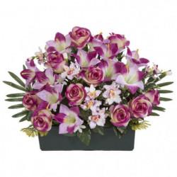 UNE FLEUR EN SOIE Jardiniere TGM roses et lys - 50 cm