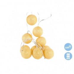 Guirlande de Noël boule en coton - 6 x 150 cm - Doré