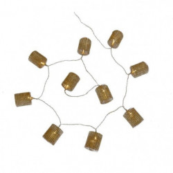 Guirlande de Noël en tubes diamants or - 10 LED blanc fixe -