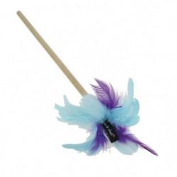 VITAKRAFT Jouet plumeau manche en bois - Bleu turquoise et v