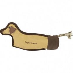 DIEGO & LOUNA Jouet en forme de chien - 29 x 7 cm - Naturel