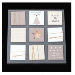 Cadre lumineux Noël 10 LEDS - Bois et plastique - H 35 x L 3