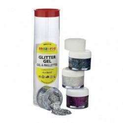 SNAZAROO Set gels pailletés 4*8ml (argent, diamant, multicol