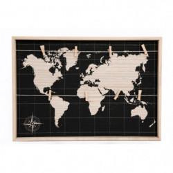 Plaque mappemonde a pince voyage - 55x35 cm