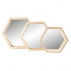 TRIO Lot de 3 miroirs 30x38 cm + 25x35 cm + 20x28 cm en Bois