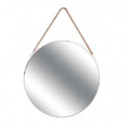 JOSEPH Miroir rond a suspendre  - 50 cm - Blanc et jonc de m