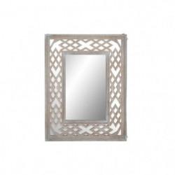 Miroir romantique en bois - 60 x 80 x 3 cm - Décapage marron