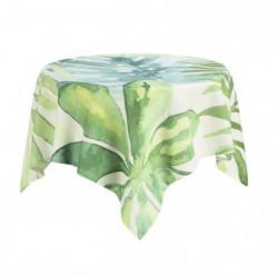 DEKOANDCO Nappe carrée végétal blanc - 100x100 cm - 4 pompon