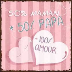 PAPA & MAMAN Image contrecollée 20X20 cm 100 pour cent amour