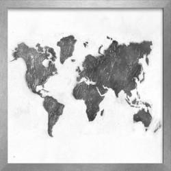 MONDE Image encadrée peint a la main 54x54 cm Mapamundi