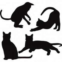 WALL IMPACT Stickers Silhouettes de chats - 40x37x1 cm - Vin