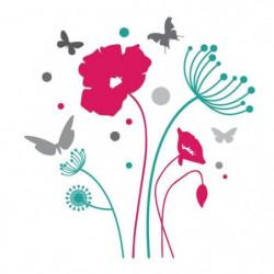 WALL IMPACT Stickers Papillons et fleurs - 40x42x1 cm - Viny