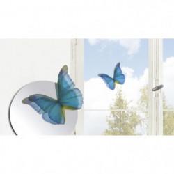 Lot de 7 papillons déco murale 3D - Cobalt transparent - PVC