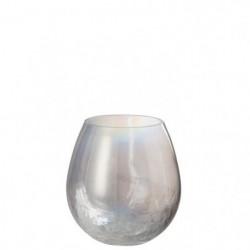 Photophore en verre 17x17x17 cm Nacré