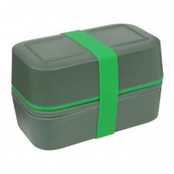 CAO CAMPING Lunch box Bambou double - 0,75 L x 2 - Vert kaki
