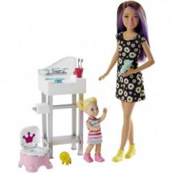 BARBIE - Coffret Babysitter Pot - Coffret Poupée - Comprend