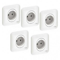 SCHNEIDER ELECTRIC Lot de 5 prises de courant 2P+T Ovalis