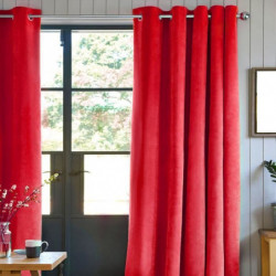 Rideau First Suede en suédine polyester - 140 x 250 cm - Rou