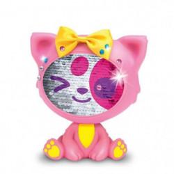 LES ZEQUINS Animal 14 cm avec sequins magiques - Chat rose -