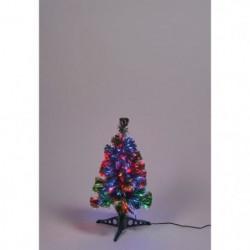 Sapin vert de Noël en PVC - H 60 cm - Fibre optique multicol