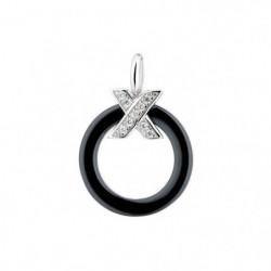"CERALUXE - Pendentif ""My Crossed Ring Black"" Argent 925/1000"