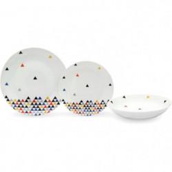 Service de Table 18 pieces en porcelaine Triangles