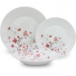 Service de Table 18 pieces en porcelaine Papillons rouge