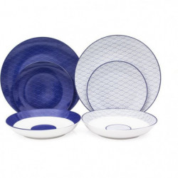 Service de Table 18 pieces en porcelaine 2 motifs Mix and Ma