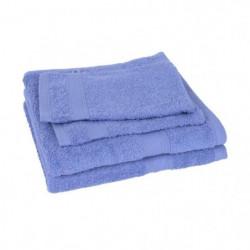 Lot de 2 serviettes + 2 gants ELEGANCE bleu