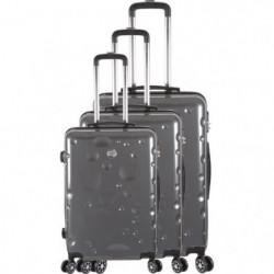 FRANCE BAG Set de 3 Valises 8 roues abs/polycarbonate Gris