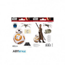 Stickers Star Wars - 16x11cm  / 2 planches - BB8 / Rey - ABY