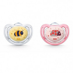 NUK 2 Sucettes Taille 2 Fresstyle - Fille