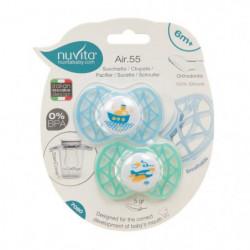 NUVITA Air.55 Sucette bébé orthodontique - 6 mois - Bleu