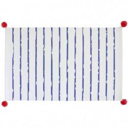 SAILOR Tapis de bain - Coton - 50x80 cm - Blanc / Bleu Major