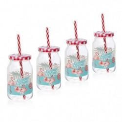 CERVE lot de 4 drinking jars avec paille 45 cl gamme Flamant