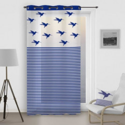 SOLEIL D'OCRE Voilage a oeillets Colibri - 140x260 cm - Bleu