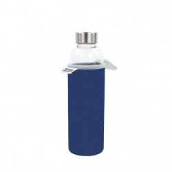 YOKO DESIGN Glass bottle avec pochette néoprene - Bleu