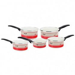 BAUMALU Série 5 casseroles émail - 12 a 20 cm - Motif Poule