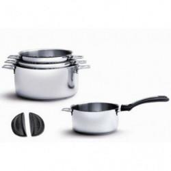 DE BUYER - 3491.04 - Lot 4 casseroles + 1 Queue amovible