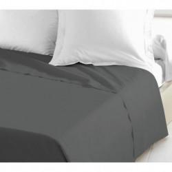 LOVELY HOME Drap Plat 100% coton 180x290 cm gris foncé