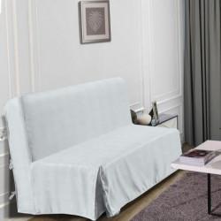 HOMETREND Housse de BZ Graphite - 140 x 200 cm - Blanc