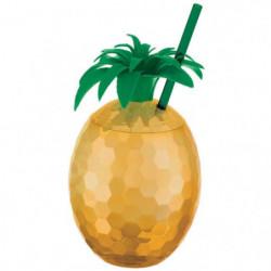 AMSCAN Gobelet Ananas avec Paille dorée