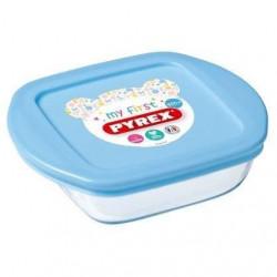 PYREX - BABY - Plât caré en verre avec couvercle bleu 14*12 cm