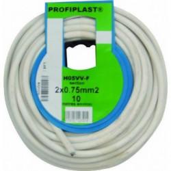 PROFIPLAST Couronne de câble 10 m HO5VVF 2 x 0,75 mm2 Blanc