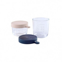 BEABA Coffret 2 portions verre 150ml pink, 250ml dark blue