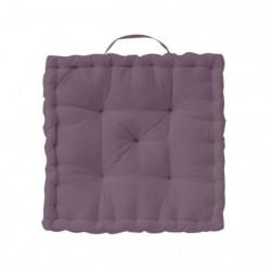 TODAY Coussin de sol Coton - 50 x 50 x 12 cm - Violet figue