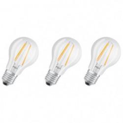 OSRAM Lot de 3 Ampoules LED E27 standard claire 6,5 W