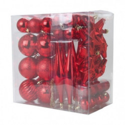 Lot de 60 boules de Noël + suspensions de Noël - Ø 6-16-4-3-7cm
