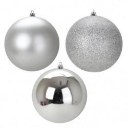 Lot de 3 Boules de Noël en Plastique Argenté 12 cm