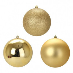 Lot de 3 Boules de Noël en Plastique Doré 12 cm